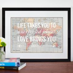 personalised home quote map print by of life & lemons | notonthehighstreet.com