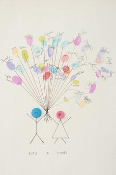 Casamento feito à mão: Balões de impressões digitais