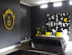 repaint frame of mirror with yellow :) Gray & Yellow bedroom