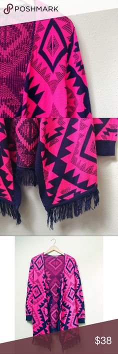 Navy & Pink Open Cardigan Super fun and cozy open cardigan, bright fuchsia pink with navy blue geometric pattern and fringe at the hem. In very good pre-loved condition.  ✅Bundle & Save 🚫Trades 🚫Off-Posh 🚫Modeling  💞Shop with ease; I'm a Posh Ambassador.💞 Sweaters