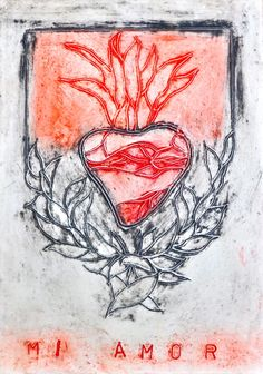 Corazon De Mi Amor 2 (Heart of My Love), encaustic & mixed media by Lisa JonesMoore