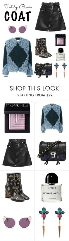 """teddy bear coat"" by blair0114 ❤ liked on Polyvore featuring NARS Cosmetics, Tory Burch, Maje, Proenza Schouler, Valentino, Byredo, Fendi and Anton Heunis"