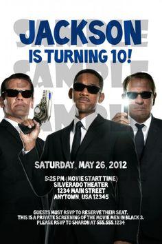Men in Black III Birthday party Invitation
