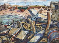 Arthur Lismer - Fisherman's Gear Cape Breton Island Nova Scotia 12 x 15.75 Oil on board (1945) Victoria School, Tom Thomson, Group Of Seven, Cape Breton, Canadian Art, Large Canvas, Museum Of Fine Arts, Nova Scotia