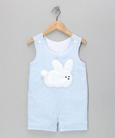 Take a look at this Blue Rabbit Seersucker Shortalls - Infant & Toddler by Wiggles and Giggles on #zulily today! $31.99