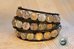 Leather Wrap Bracelet Labradorite 10mm Gemstone by OceanAirStudio