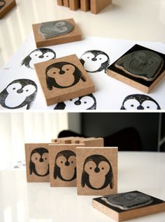 Milo_How to make a Penguin Stamp. Or any stamp for that matter Diy Stamps, Homemade Stamps, Fun Crafts, Diy And Crafts, Crafts For Kids, Paper Crafts, Diy Projects To Try, Craft Projects, Stencil
