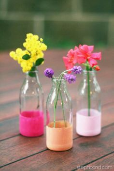 Lovely flowers & diy bottles.