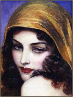Vintage Art Deco Poster/Woman With Hood Vintage Gypsy, Vintage Art, Vintage Beauty, Vintage Portrait, Vintage Woman, Vintage Crafts, Vintage Printable, Printable Art, Illustration Art Nouveau