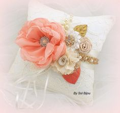 Ring Bearer Pillow, Bridal, Wedding, Ivory, White, Coral, Gold, Lace, Pearls, Crystals, Elegant, Vintage