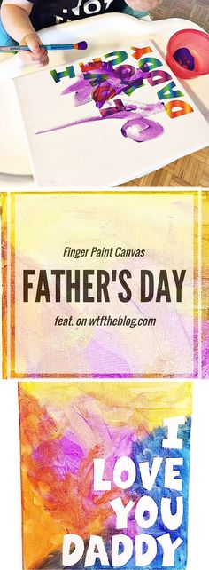 Finger paint on canvas for a fun Father's Day project for kids!