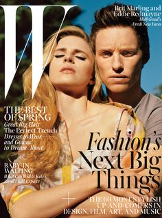 A Year in W - Brit Marling and Eddie Redmayne on the cover of W's April 2013 issue.