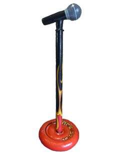 Set the stage on fire with your very own Inflatable Flame Microphone Stand! This great fancy dress accessory is perfect for a themed party or karaoke night. They also make a wicked garden or pool toy and are suitable as a stage prop in schools or amateur theatre! The item features high quality print and detail throughout. The stand is ribbed providing shape and rigidity when inflated. To blow up the microphone stand simply inflate via the mouth valve.
