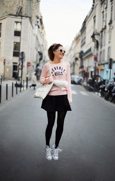 tights with miniskirt and sneakers