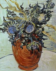 Vase with Flower and Thistles. Vincent van Gogh Pola Museum of Art, Hakone. 1890. 41.0 x 34.0 cm.