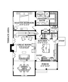 Great Kitchen (HWBDO75755) | Bungalow House Plan from BuilderHousePlans.com