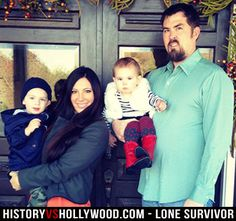 The Lone Survivor himself, Marcus Luttrell, with his wife Melanie and children Axe and Addie in Mark Wahlberg plays him in the movie. Lone Survivor Book, Danny Dietz, Operation Red Wings, Marcus Luttrell, Chris Kyle, Us Navy Seals, Military Love, American Soldiers, True Stories