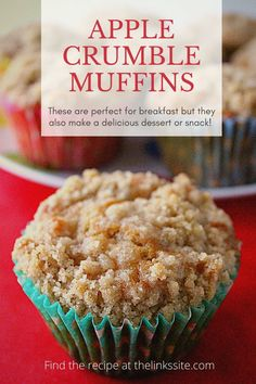 These Apple Crumble Muffins are very versatile. They are really nice as a morning or afternoon tea snack but because they include fruit and hi fibre flour they are also a great choice for breakfast muffins. But best of all you can enjoy having them as a dessert with some whipped cream! Oh and they are freezer friendly muffins so they are perfect all round! thelinkssite.com #muffins #muffinrecipe #breakfastmuffins #freezerfriendly #applerecipe #desserts Apple Recipes Easy, Apple Cake Recipes, Apple Desserts, Best Dessert Recipes, Muffin Recipes, Pie Recipes, Fun Desserts, Apple Crumble Muffins, Recipes With Yeast