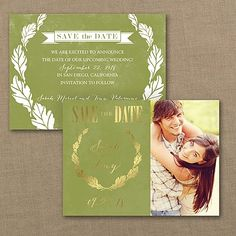 Oak Wreath Photo Save the Date Card 40% OFF  |  http://mediaplus.carlsoncraft.com/Wedding/Save-the-Dates/WA-WA32951NFC-Oak-Wreath--Photo-Save-the-Date-Card.pro
