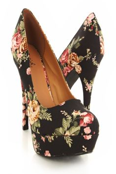 Black Floral Heels - wanelo on imgfave Floral Print Heels, Floral Pumps, Floral Prints, Crazy Shoes, Me Too Shoes, Flats, Shoes Heels, Sexy Heels, Mode Shoes
