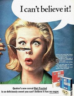 """Elizabeth Montgomery in an ad for Quaker's Diet Frosted cereals [1966] - The Quaker Oats Company was one of the regular Sponsors on """"Bewitched"""""""