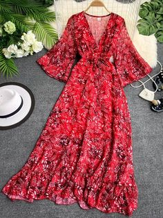 Women's Flare Sleeve Floral Print V Neck Split Plant Three Quarters Sleeve Sweet Midi Mid Waist A Line Dress dresses Stylish Dresses, Casual Dresses, Summer Dresses, Linen Dresses, Cute Casual Outfits, Chic Outfits, Dress Outfits, Girls Fashion Clothes, Fashion Dresses