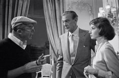 On the set of Love in the Afternoon: Audrey, Gary Cooper and Billy Wilder, 1956