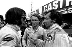 Sport, Motor-racing, 18th March, 1973, Racing driver's, l/r, Emerson Fittipaldi, Niki Lauda and Jean-Pierre Beltoise, chatting in the pits at Brand's Hatch, race track, Kent, prior to the 'race of champions'