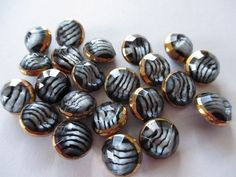Vintage glass buttons. Stripey tigers eye.