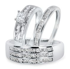 !!New!! 1/2 CT Round Sim Diamond Trio Engagement Ring Set 14K White Gold Gp .925 #br925