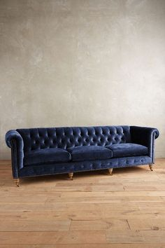 Slub Velvet Grand Lyre Chesterfield Sofa, Wilcox - anthropologie.com