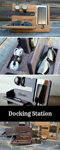 Docking Station! Great Gift Idea! Helps keep all your Important Items together. Keep organized! Whether its Graduation, A Birthday or fathers day it would make a great gift! #Dockingsatation #gift #fathersday #ad #etsy