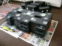 Coffee table from VHS tapes