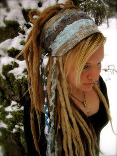 I wonder if i could duplicate something like this.  Hair Wrap Headband Dread Band. $32.00, via Etsy.
