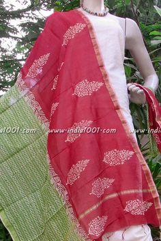 Beautiful Chanderi dupatta with block printing