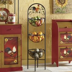 $69.95-3-Basket Rooster Rack from Through the Country Door® | NF704937 12 WIDE X 44 HIGH