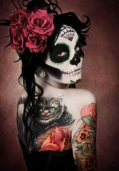 Sugar♥Skull & Alice in Wonderland Chesire Tattoo … All kindza Awesome!!