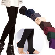 Kobiety Jesień Zima GRUBE Ciepłe Legging Szczotkowanego Podszewką Stretch Spodnie Polarowe Deptać stóp Legginsy