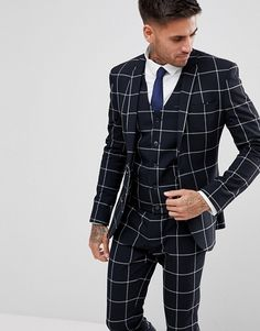 ASOS Super Skinny Suit Jacket In Navy With White Windowpane Check ASOS is part of Skinny suits Find the best selection of ASOS Super Skinny Suit Jacket In Navy With White Windowpane Check Shop to - Best Suits For Men, Cool Suits, Mens Fashion Blazer, Suit Fashion, Classy Suits, Skinny Suits, Designer Suits For Men, Checked Suit, Formal Suits