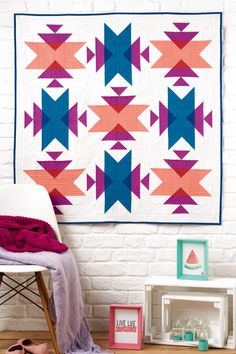 Guest Designer - Alyce of Blossom Heart Quilts - Patchwork Posse Quilting Projects, Quilting Designs, Quilting Ideas, Southwestern Quilts, Motifs Aztèques, Geometric Quilt, Triangle Quilts, American Quilt, Traditional Quilts