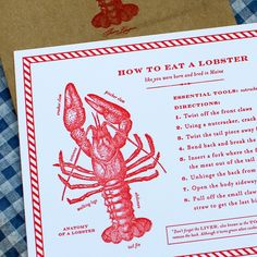 Letterpress Lobster Eating Guide - learn how to do eat a lobster like you were born and bred in Maine!