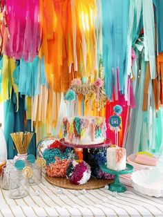 I'm in love with this Anthropologie Inspired Bohemian Birthday Party by Kelsey Klos out of Petaluma, CA! Featuring a bright and cheerful color palette and filled with anthro decor, this celebration is sure to be adored! So browse on and be sure to spot these fab details that are top-notch:    Adorable Boho Cake + Topper/Pom Poms Balloon Garland & Plate Backdrop Colorful Pom Pom Ball Decorations paired with Mini Disco Balls Cute and Colorful Scallop Plate Table Settings Felt Garland & F