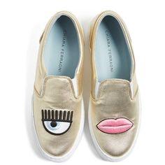 Women's Chiara Ferragni Flirting Lips Slip-On Sneaker found on Polyvore featuring shoes, sneakers, gold, slip on trainers, gold shoes, slip-on sneakers, gold slip on sneakers and pink sneakers
