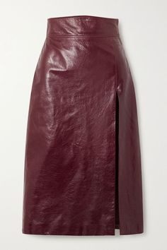 Burgundy Textured glossed-leather pencil skirt | Gucci | NET-A-PORTER