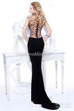 Wholesale 2013 Black Mermaid Evening Dress Formal Gown with net Diamonds Backless Style TE 92156, Free shipping, $141.93/Piece | DHgate