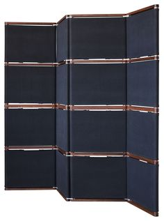 folding screen room divider warm wood and cool navy says menswear or classic
