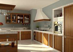 idea per costruire cucina in muratura angolare con ripiani a vista ...
