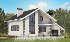 180-001-П Проект двухэтажного дома мансардный этаж, гараж, экономичный домик из газосиликатных блоков