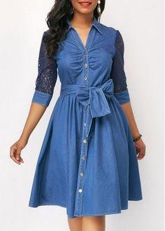 Belted Button Up High Waist Blue Denim Dress Jeans Gown, Demin Dress, Black Tunic Dress, Blue Denim Dress, Black Dress With Sleeves, The Dress, Denim Dresses, Sleeve Dresses, Blue Dresses