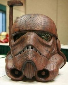 I don't know who made this wood carving but it's pretty much beyond awesome! #starwars #stormtrooper #wood #carving #sculpture #woodwork